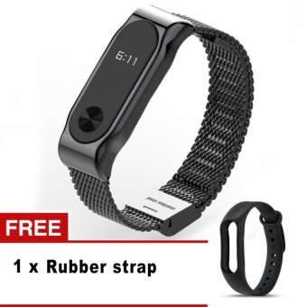 Harga Mijobs Screwless Stainless Steel Bracelet For Xiaomi Mi Band 2 Metal Strap Accessories For Mi Band 2 - intl