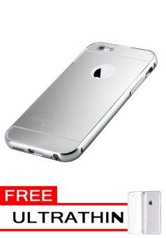 Case for Apple iPhone 6 Plus Aluminium Bumper With Mirror Backdoor Slide Silver .