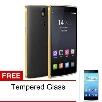 Harga Peonia OnePlus One Metal Aluminium Bumper One Plus One 1+1 - Gold + Bonus Tempered Glass