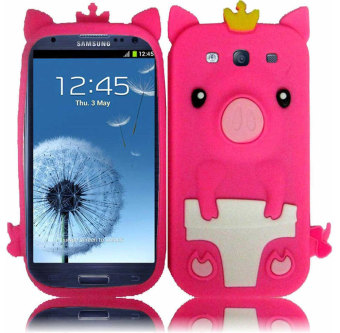 Leegoal Hot Pink 3D Happy Crown Pig Soft Silicone Gel Case Cover for .