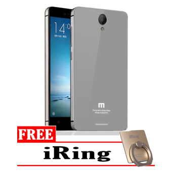 Harga Hardcase Aluminium Tempered Glass Series For Xiaomi Redmi Note 2 - Silver + Free I-Ring