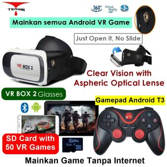 Harga Vr Box 2 play VR game tanpa Wifi with magnet 3d vr glasses kacamata cardboard (VB2+T3+V2)
