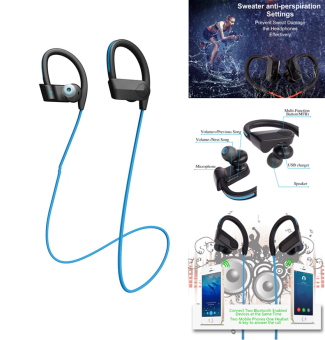 Harga Headset Bluetooth, Earphone Stereo Stereo Stereo Super Bass Earbud Headphone Dengan Mic(Biru) - intl