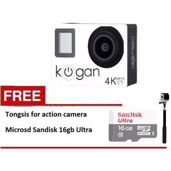 Harga Kogan Action Camera 4K NV UltraHD - 16MP - Putih - WIFI + microsd16gb class 10 + tongsis