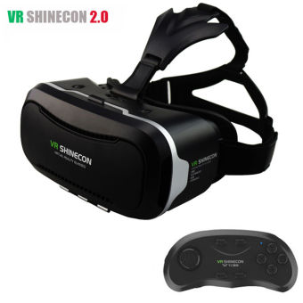 Harga VR Shinecon 2,0 realitas Virtual 3D kacamata kepala gunung VR Box kacamata VR + kontroler Bluetooth - International