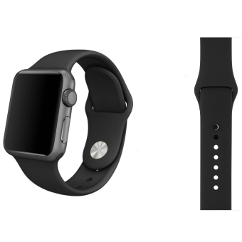 Harga Soft Silicone Watch Band Strap With Connector Adapter For Apple Watch iWatch 38mm (Black)