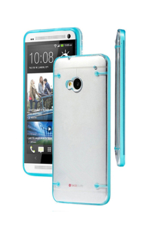 Harga Blue lans Ultra Thin Transparent Soft Gel Skin Hard Case Cover for HTC One M7 - Sky Blue