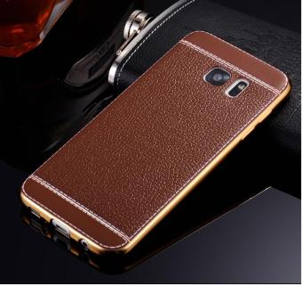 Harga Phone case soft leather mobile phone case litchi grain cortical soft shell for Samsung S6 edge - intl