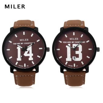 Harga MILER A8285 Couple Quartz Watch Luminous Pointer Leather Band Wristwatch (Brown) - intl