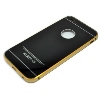 Harga Hardcase Aluminium Tempered Glass Series For Iphone 6 - Black Gold