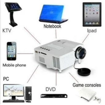 Harga Mini Portable 1080P HD Multimedia LED Projector Laptop AV SD HDMI US Adapter - intl