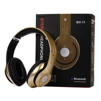 Harga SH11 Wireless Bluetooth Headset Sport Folding Stereo Subwoofer (Gold)