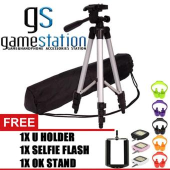 Harga GStation 3110 Portable Tripod Stand 4 Section Aluminium Legs With Brace Free Holder U, OK Stand Holder, Lampu Selfie Flash