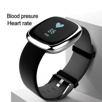 Harga P2 Bluetooth 4.0 Wristband Smart Watch Heart Rate Blood Pressure Monitor WaterProof IP67 Sports Fitness Tracker Smart Bracelet for Android and IOS - Silver and Black - intl