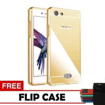 Case Oppo Neo 5 Bumper Mirror Slide - Gold + Free Flipcase