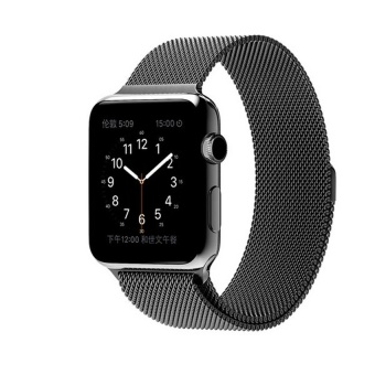 Harga New Milanese Loop Watch Strap For Apple Watch Band 42mm Black link bracelet Stainless Steel Woven iwatch watchband (Black) - intl