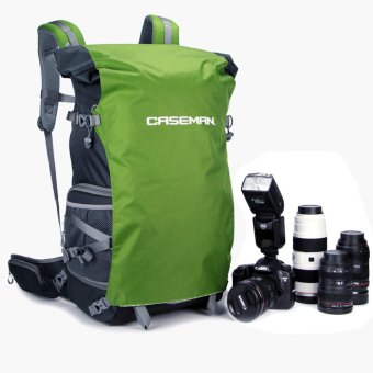 Harga Caseman AOB5 DSLR Camera Bag Case Extended Backpack Water Resistant for Canon Nikon Sony (Green)