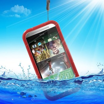 Harga Heavy Duty IP-68 Waterproof Protection Case for HTC One M9 / M8 / M7 - Red
