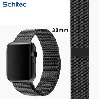 Harga SCHITEC Watch Band for Apple iWatch Band Sport & Edition Fully Magnetic Closure Clasp Mesh Loop Milanese Stainless Steel Bracelet Strap Watchband 38mm - intl