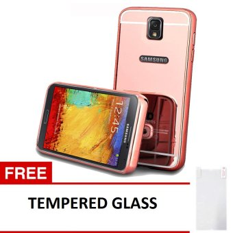 Case Bumper Chrome with Backcase Mirror untuk Samsung Galaxy Note 3 - Rose Gold + Free