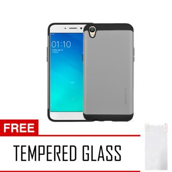 Case Slim Armor For Oppo Neo 9 A37 Series - Silver + Tempered Glass