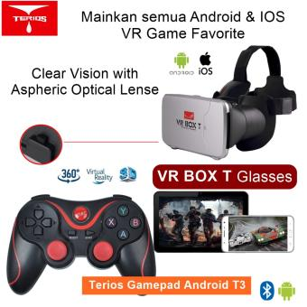 Harga VR Box T +T3 3D VR Cardboard 2 with Capacitive Touch Button & Gamepad Android T3