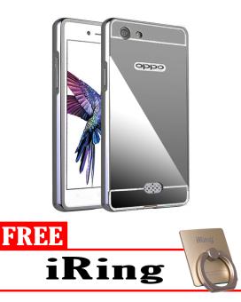 Case for Oppo Neo 5 Aluminium Bumper With Mirror Backdoor Slide - Black + Free iRing