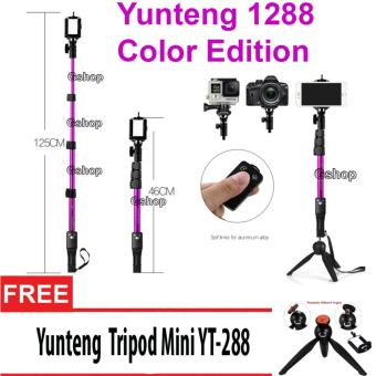 Harga Yunteng YT-1288 Monopod Color Edition Tongsis 1288 with Bluetooth Function + U Holder + Yunteng 228 Combo Set