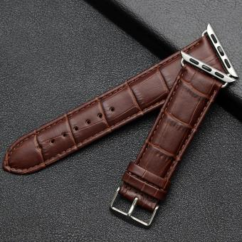 Harga niceEshop 42mm Luxury Crocodile Pattern Leather Wrist Watch Band Strap Belt For Iwatch Apple Watch (Brown) - intl