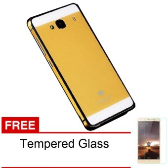 Harga Hardcase Aluminium Tempered Glass Case for Xiaomi Redmi 2 - Golden + Free Tempered Glass