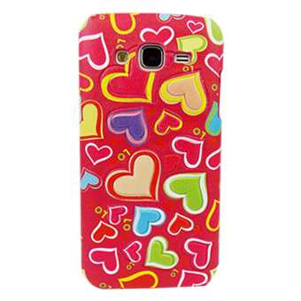 Harga Hardcase Leather Motif Love for Samsung Galaxy J1 Ace - Pink Tua
