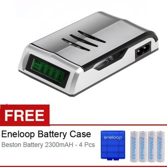 Harga Beston Quick Charger Bst-C905w - Silver + Gratis Eneloop Case + 4 Battery AA 2300 mAh