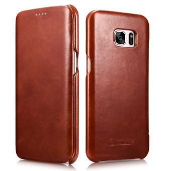 Harga ICARER Ultra Slim Vintage Genuine Leather Case Flip Folio Protective Cover for Samsung Galaxy S7 Edge (Brown)