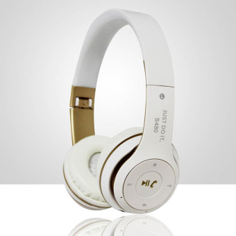 Harga S480 Wireless Bluetooth Headphone Foldable 3D Surround (White)