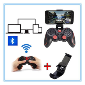 Harga T3 Bluetooth Joystick Game Gamepad Controller Joystiker + Bracket Mount for Android Smart Phone TV box PC TV (Holder Included)