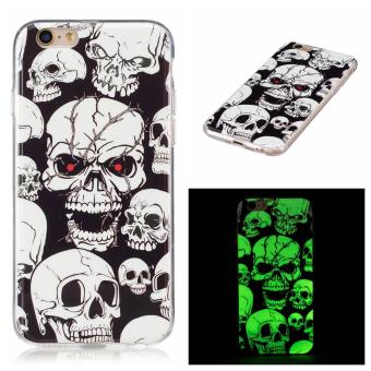 Harga Luminous Effect TPU Phone Back Case Cover For iPhone 6 Plus / iPhone 6s Plus (Skull) - intl