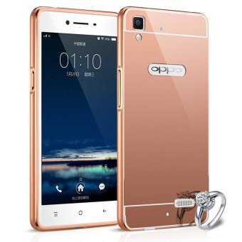 Harga Case Oppo R7/R7 lite Alumunium Bumper With Mirror Backdoor Slide - Rose gold