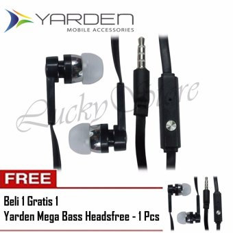Harga Lucky Yarden Mega Bass Handsfree Sound Only Excellent Sound Quality With Mic Hitam + Beli 1 Gratis 1 (Black)