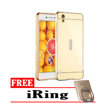 Case Vivo Y15 Bumper Mirror Slide Gold - Free iRing