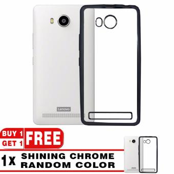 Harga Softcase Silicon Jelly Case List Shining Chrome for Lenovo A7700 - Black + Free Softcase List Chrome