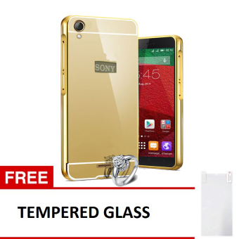 ... Case For Sony Experia M4 Aqua Bumper Chrome With Backcase Mirror Free Tempered Glass