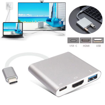 Harga USB C Digital AV Multiport Adapter, Type C USB 3.1 Hub USB C to HDMI 4K Adapter Type C Female Charger Adapter and USB 3.0 for 2016 MacBook Pro MacBook Google Chromebook Pixel and other Type C devices