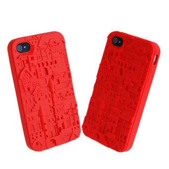 Leegoal Red Premium 3D Castle Silicone Cover Case for iPhone 4 4S - intl