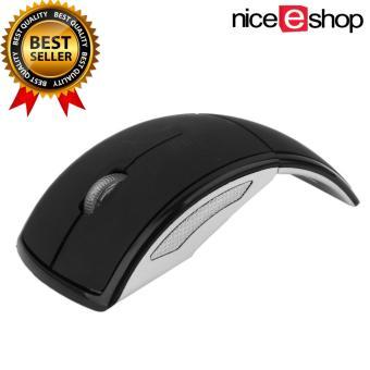 Harga niceEshop Hitam 2.4 gHz dilipat lipat USB mouse optik nirkabel dengan receiver untuk PC Laptop