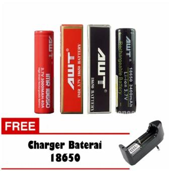 Harga AWT Battery 3000 MAh Tipe 18650 Rechargeable Li-ion 2 Pcs + Charger (Black / Red)