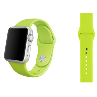 Harga Soft Silicone Watch Band Strap With Connector Adapter For Apple Watch iWatch 42mm (Green)