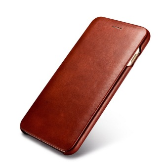 Harga icarer Curved Edge Vintage Series Corrected Grain Genuine Leather Case with Magnetic Closure For iPhone 7 Plus(Brown)