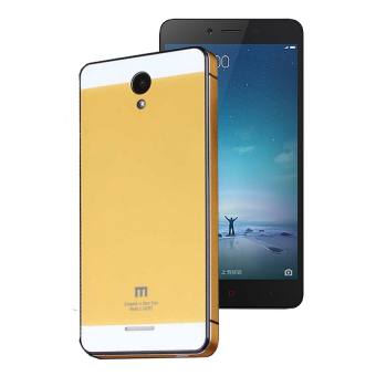 Cover Backcase Tempered Glass Hard Case Aluminium For Xiaomi Redmi Note 2 - Golden