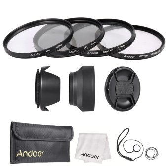 Harga Andoer 67mm Lens Filter Kit (UV + CPL + Star+8 + Close-up+4 ) with Lens Cap + Lens Cap Holder + Tulip & Rubber Lens Hoods + Cleaning Cloth Outdoorfree