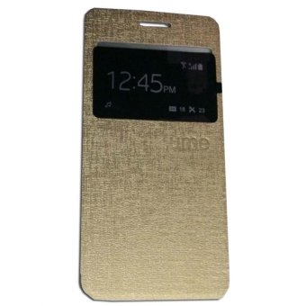 Harga Ume Flip Shell / FlipCover for Samsung Galaxy J1 Ace J110 Leather Case / Sarung HP / View - Gold
